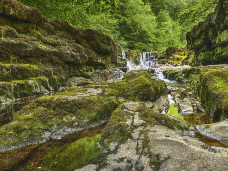 Brecon, waterfall, Wales, landscape, river